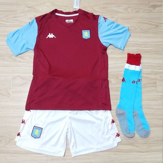 2019 2020 Aston Villa Kids Jersey with Socks Children Villa Home Kit Football Jersey Customize Name and Number