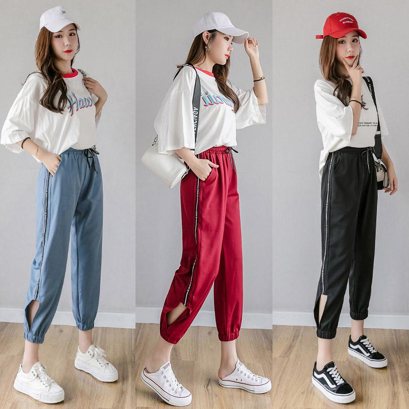 video casual sports pants high waist pants 2019 new loose nine points wide leg p