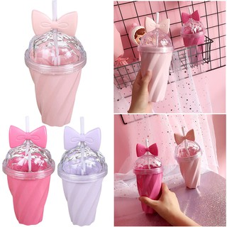 400ML Lovely Straw Cup Cold Drink Cup Plastic With Bow Lid Straw Cup Bottle