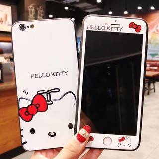 Hello kitty Phone case iphone X 6 6s plus 7 8 plus hard cover Shell with film