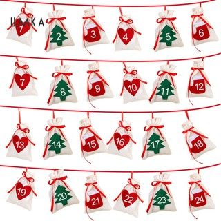 SP 24/30Pcs Christmas New Year Hanging Gift Candy Bag Calendar Home Xmas Tree Decor