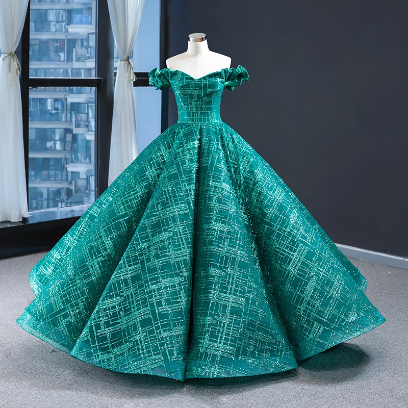 S~XL Off Shoulder Green Red Carpet Luxury Glitter Puffy Pre Wedding Bride Red Carpet Elegant Evening Maxi Dress Gown #9