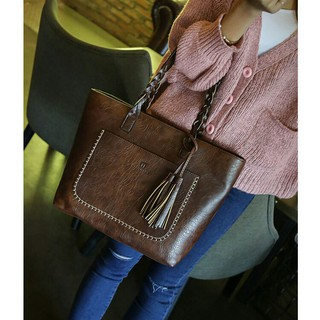 Ready Stock ~October 20 Premium Faux Leather Tassel Tote Bag