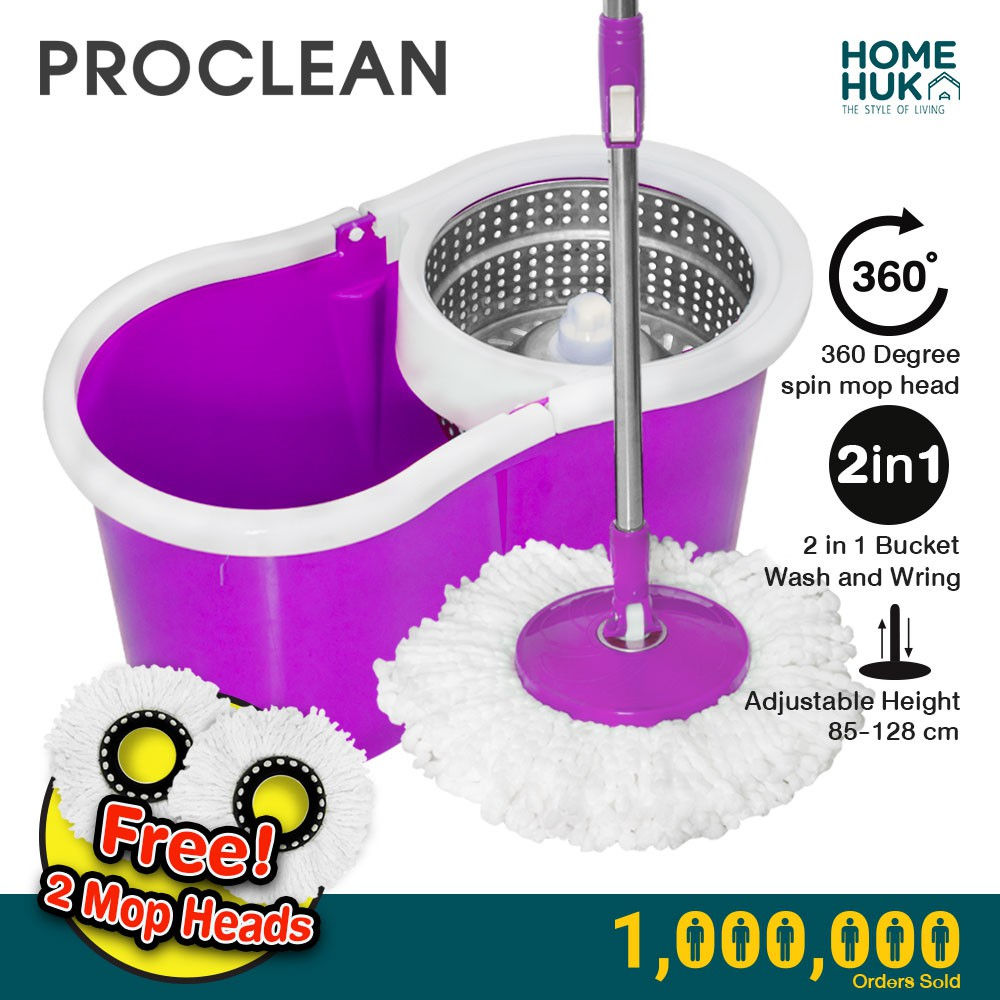 ProClean Spin Mop ECO Series Stainless Steel Wringer Bucket + 2 Rotatable Microfiber Mop Heads