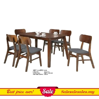 Modern Designer Wooden Dining Set (1 Table + 6 Chairs) 900x1500mm Meja Makan