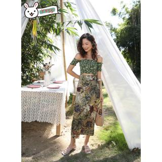 one flower bohemian Live exposed with beach dress, flower video word dress skirt, holiday top, navel,