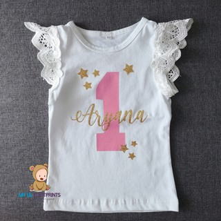 Sweet Starry Personalise name and number shirt printing Angel Wing Ruffle