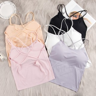 【Ready stock】Camisole Bras Push Up Sexy Model Plain Color Back Straps for Women