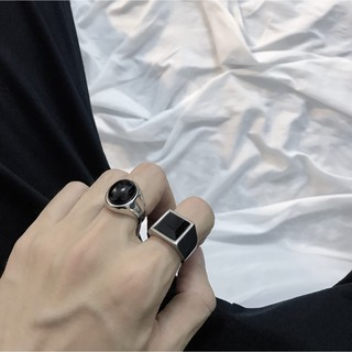 Japan And South Korea Dongdaemun Network Red Ins Wind With The Paragraph Simple Wild Cool Wind Black Gemstone Titanium S