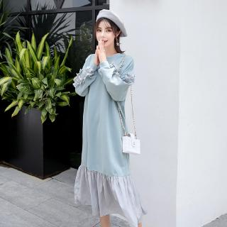 Maternity Wear Chic Mid-long Dress Loose Long Sleeves Dress for Pregnant Women