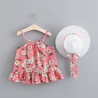 Cut Children Summer Cute++Beauty Girls Cotton Cute Breathable Print Sweet Princess Sling Dress