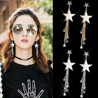 Dangle Earrings Personality Temperament Five-pointed Star Long Tassel Earrings Gold Silver Stud Earrings Jewelry Gift