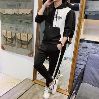 Fashion Hooded Men's  Strip Solid Color Leisure Long Sleeve Sport Suit