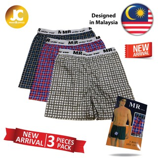 MR CHECKERED CHECKER 100% COTTON Male Men Boxer Brief Underwear Seluar Pendek (3pcs)