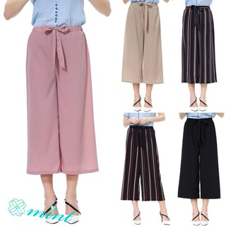 Fashion Women High-rise Tie Wide-leg Pants