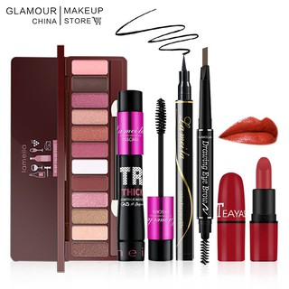5pcs/lot Make Up Set Eyeshadow Matte Lipstick Eye Mascara Eyeliner