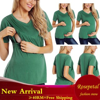 S-XXL Women Maternity Solid Color Short Sleeve Pregnancy Nursing Baby T-shirt