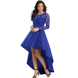 Long Sleeve Lace High Low Satin Prom Dress