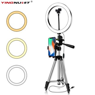 16/20/26CM Photography Dimmable LED Selfie Ring Light Youtube Video Live 5500k Photo Studio With Phone Holder USB Plug