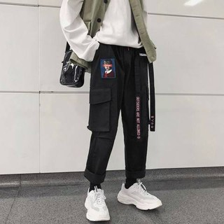 Sports pants female summer loose Korean students ulzzang wild ins super fire hiphop overalls bf trend
