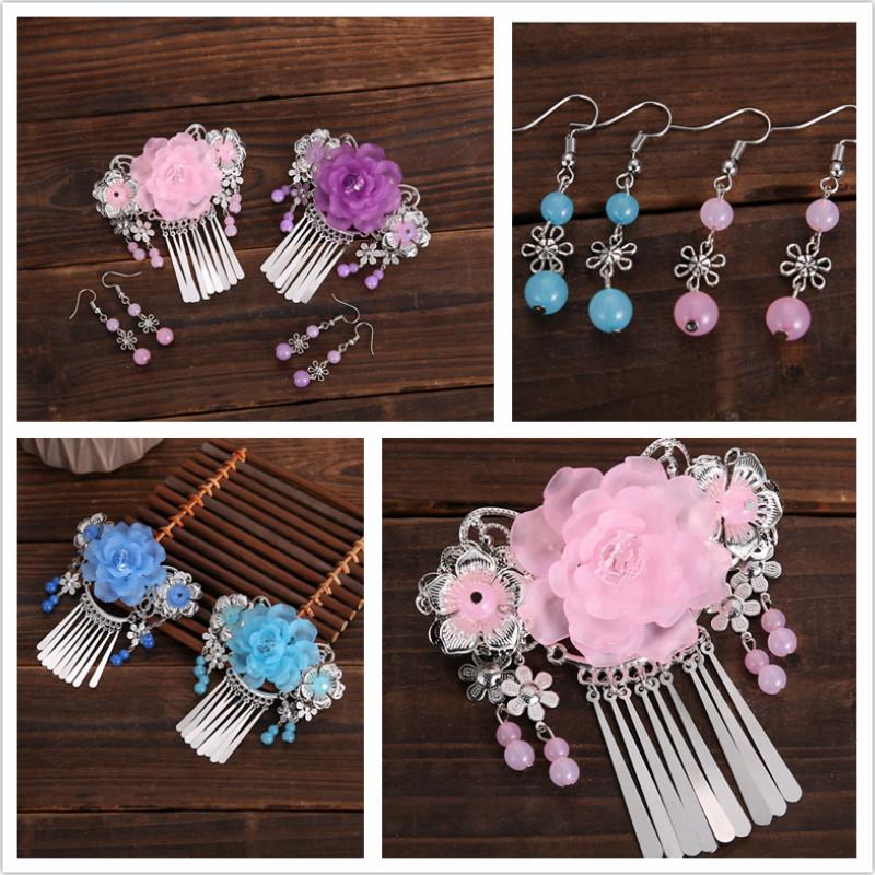 2 Pcs Women's Fashion Handmade Comb Earrings Hair comb Hair Accessories Jewelery