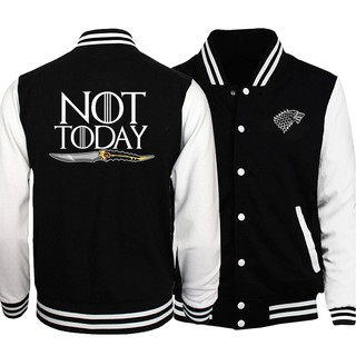 2020 Anime Game Of Thrones Not Today Tv Show Jackets Men Baseball Jacket Fitness Long Sleeve Hoodies
