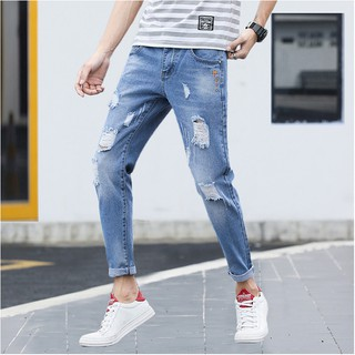 Thin section jeans men's youth slim stretch casual pants nine pants men's pants
