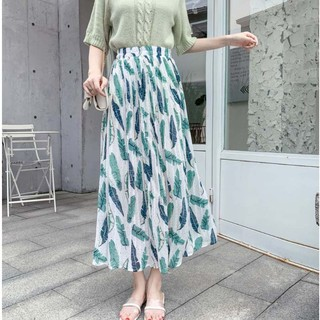 White apricot pink black New High Waist Slim Chiffon Printing Skirt Korean Version A Word Medium Length Long Skirts