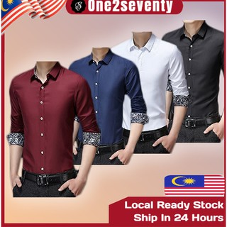 🤵READY STOCK😎 Men Business Shirt Office Formal Smart Long Sleeve Men Clothing Kemeja Suit MT 008