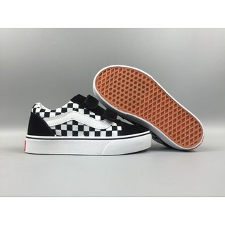 The Cat Shoes Vans Children's Shoes Board Shoes Mickey Joint Black Grid 22-35