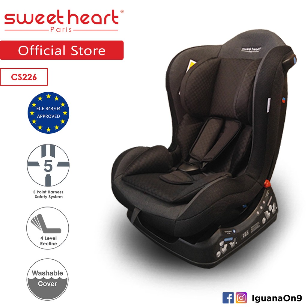 Sweet Heart Paris Group 0/1 Car Seat with One-Hand Adjustable 4 Level Reclining Position - Dark Grey CS226