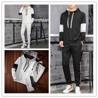 (Tops + Pants) Men's Casual Thin Long Sleeve Hooded Pullover