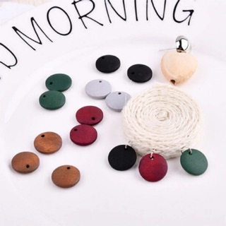 [7-10pcs] 12/15/20mm Round Wood / Retro / DIY Earrings Jewelry Craft Material / Handmade Accessories / Multicolor Chip