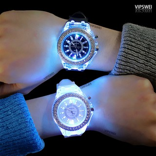 Fashion Women's and Men's Luminous diamond watch Color LED Geneva student lover jelly Silicone couple watches Gift clock