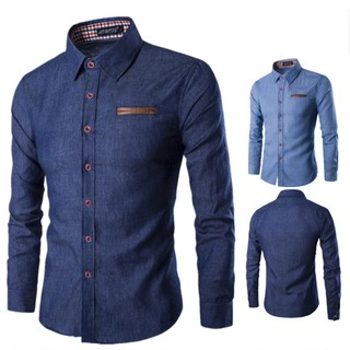 Fashion Men Shirt Pocket Fight Dress Shirt Long Sleeve Slim Casual Male Shirts