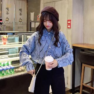Long Sleeve Clothes Korean Style Loose Retro Blouse Printed Shirt Plus Size Women Clothing
