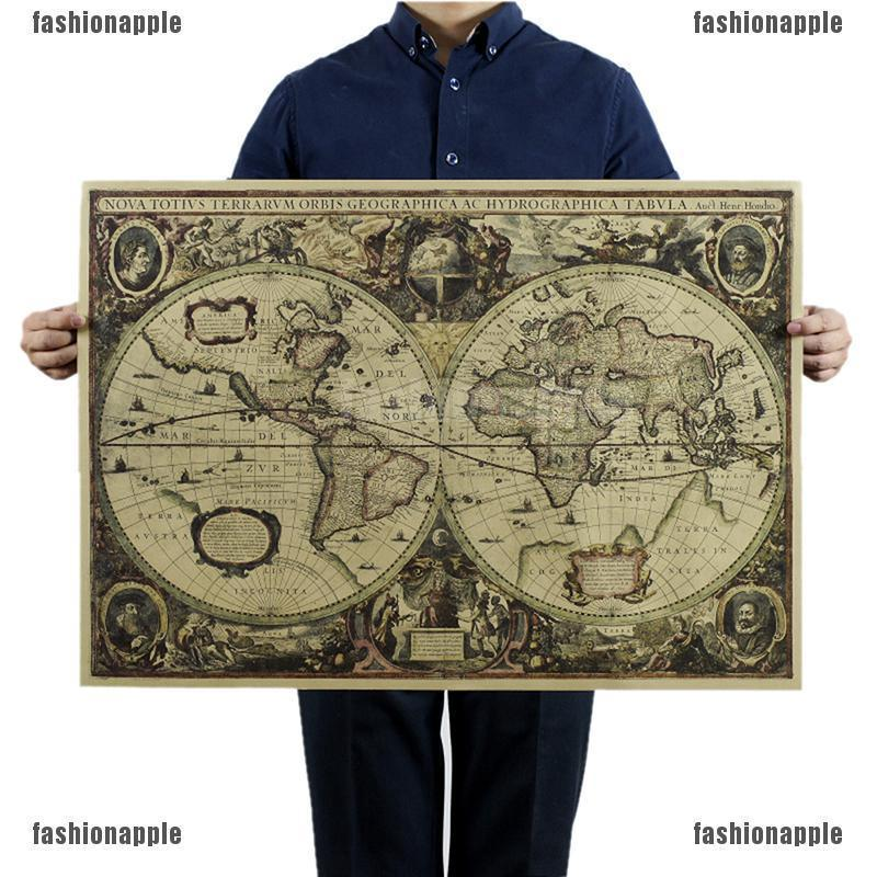 ❀❀ Retro World Map Nautical Ocean Map Vintage Kraft Paper Poster Wall Decor