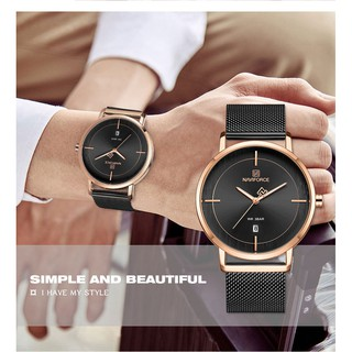 NAVIFORCE Couple Watches Fashion Calendar Leather Strap Waterproof Quartz Watch Rose gold&Black