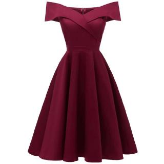 Elegant Women Off Shoulder Dress V Neck Short Sleeve Solid Pleated Cocktail Party A-line Swing Dress Burgundy/Dark Blue