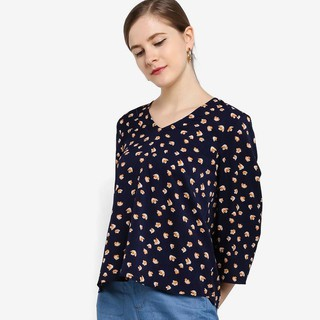 LUBNA Printed Flared Back Godet Top