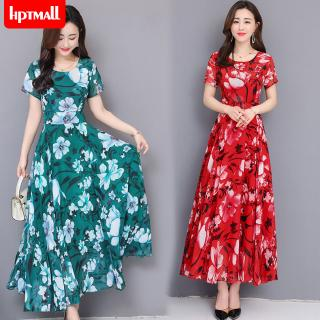 Women Floral Printed Casual Short Sleeves Large Hem A-line Waisted Dress