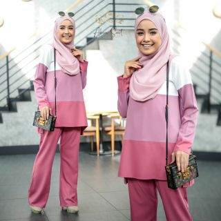 YES SALE !! ABEER SUIT BY QAMISSQA BLOUSE + PALAZO SAIZ XS-2XL NURSING & WUDHUK FRIENDLY FASHION SUIT MUSLIMAH WEAR