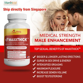MaxxTHICK with Tongkat Ali, Maca & Horny Goat Weed - 60's - Potent Male Enhancment Pill To Support Libido & Energy