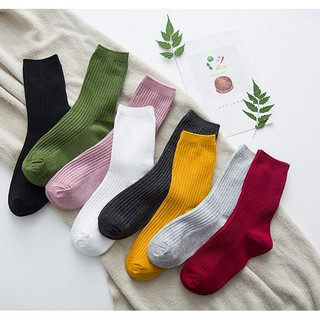 【READY STOCK】Women Girl Cotton Solid Color Loose Rool Up Casual Socks Korean Style Long Socks