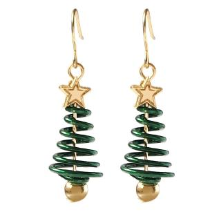 Cute Hollow Rotating Christmas Tree Five-Point Star with Gold Color Ball Christmas Earring Gift