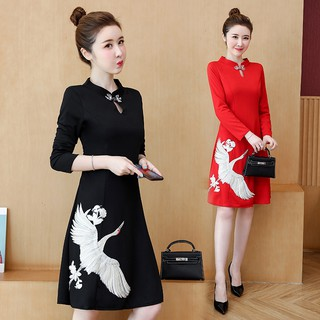 Embroidery Cheongsam A Line Dress 2019 for Women Red Black Long Sleeve Elegant Dinner Party Midi Dress