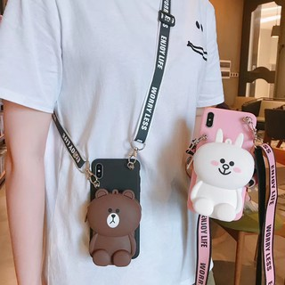 OPPO F11 F9 Pro F7 F5 F3 F1 Plus F1S A3S A5S A1 A37 A71 A71K A7 R15 R17 Pro A1K Case Brown Bear Wallet with Strap
