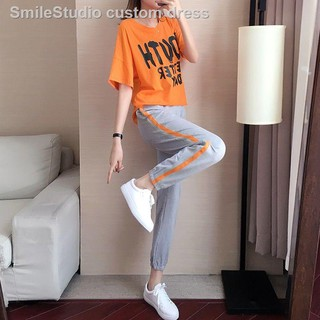 ▩๑Sports suit women's 2019 new fashion summer big-size loose short-sleeved trousers running casual two-piece set bf ti