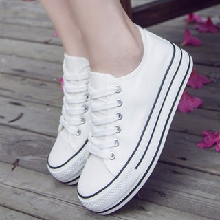 Spring and summer White sneakers women Korean version of thick bottom canvas shoes low-help sports leisure Department i
