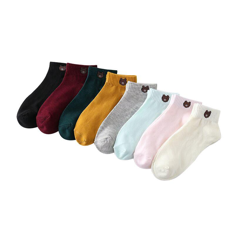✨READY STOCK✨ Female Socks Thin Bear Boat Socks Cute Korean Version of INS Tideway Socks #C&Y Fashion Station